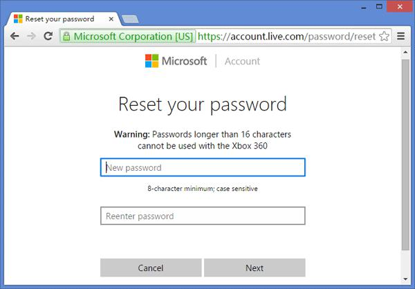 reset windows surface pro password