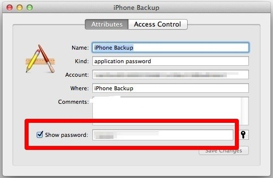 Find iTunes Backup Password from Keychain