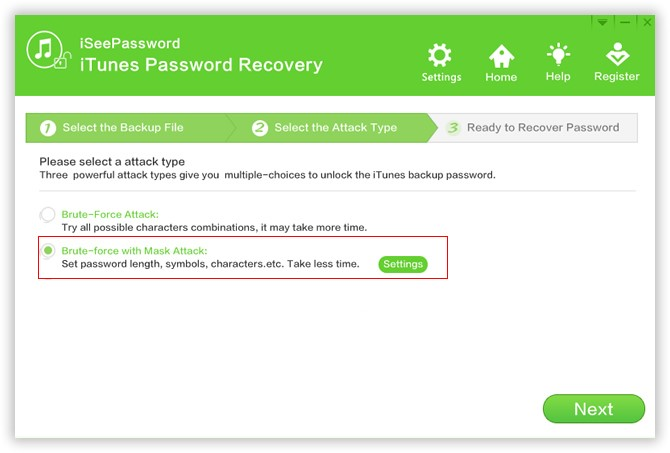 Password Recovery Attack Type in iSeePassword