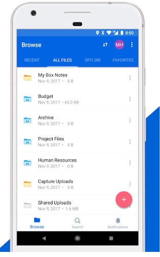 box backup app for Android