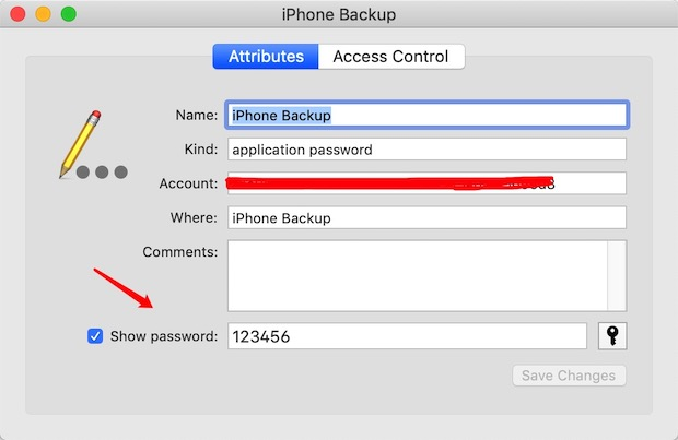 Keychain iPhone Backup Password