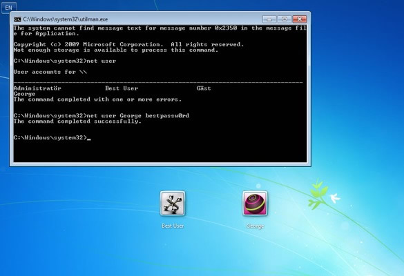 reset administrator password  with cmd